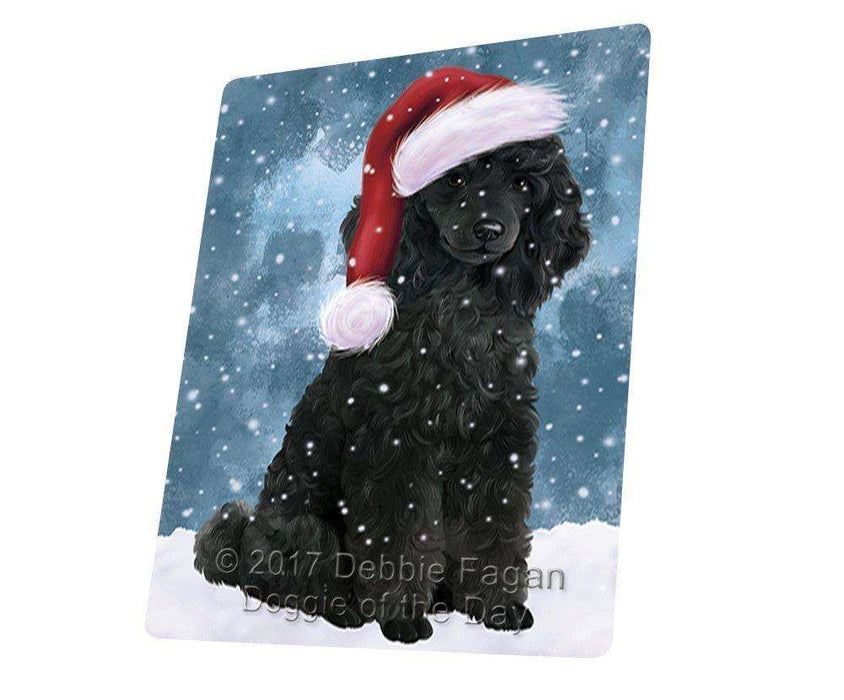 Let it Snow Christmas Holiday Poodles Dog Wearing Santa Hat Large Refrigerator / Dishwasher Magnet D111