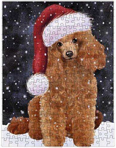Let it Snow Christmas Holiday Poodles Dog Wearing Santa Hat Puzzle with Photo Tin D399