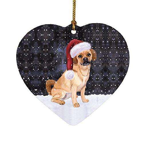 Let it Snow Christmas Holiday Puggle Dog Wearing Santa Hat Heart Ornament D229