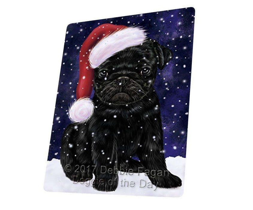 Let it Snow Christmas Holiday Pugs Dog Wearing Santa Hat Art Portrait Print Woven Throw Sherpa Plush Fleece Blanket
