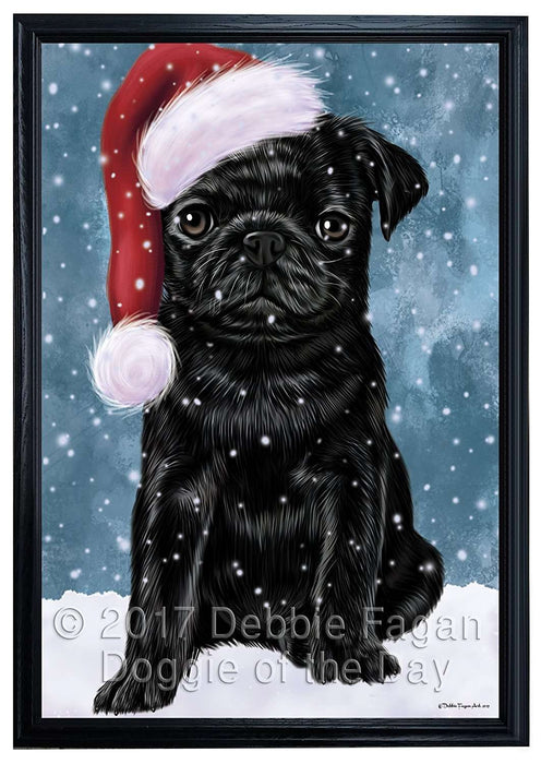 Let it Snow Christmas Holiday Pugs Dog Wearing Santa Hat Framed Canvas Print Wall Art