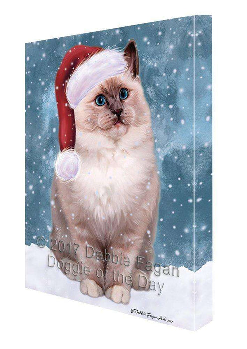 Let it Snow Christmas Holiday Ragdoll Cat Wearing Santa Hat Canvas Wall Art D252