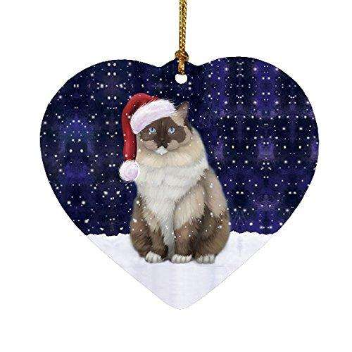 Let it Snow Christmas Holiday Ragdoll Cat Wearing Santa Hat Heart Ornament D230