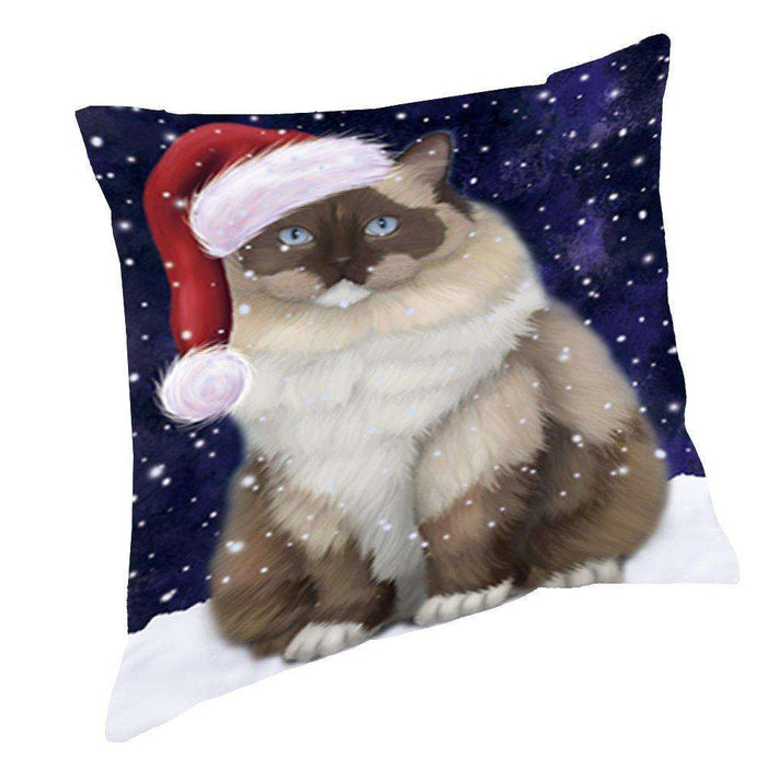 Let it Snow Christmas Holiday Ragdoll Cat Wearing Santa Hat Throw Pillow D388