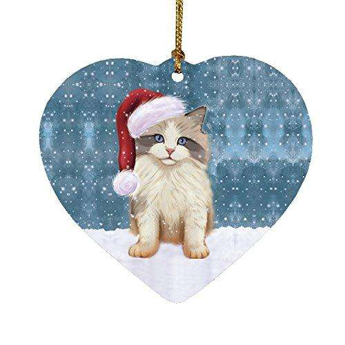 Let it Snow Christmas Holiday Ragdoll Kitten Cat Wearing Santa Hat Heart Ornament D231