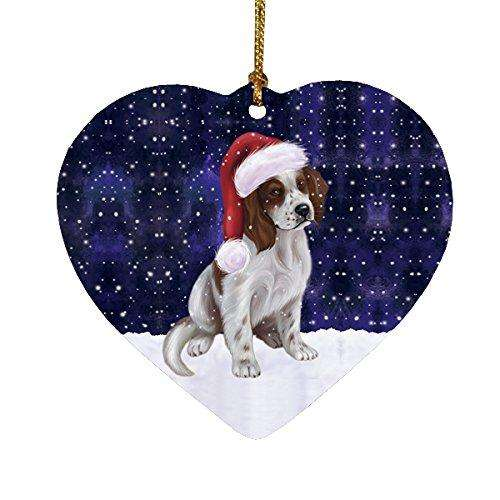 Let it Snow Christmas Holiday Red And White Irish Setter Puppy Dog Wearing Santa Hat Heart Ornament D232