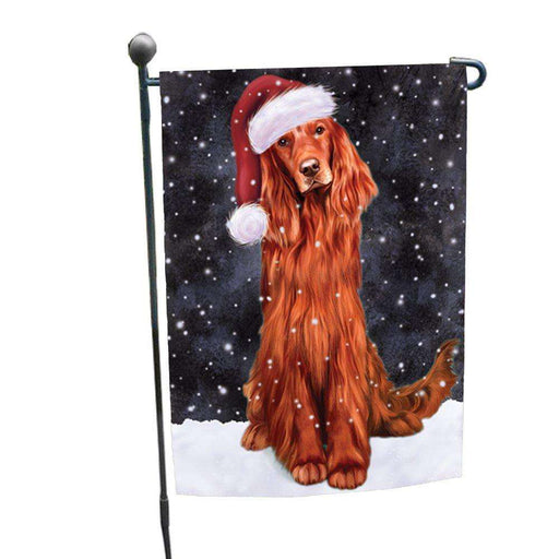 Let it Snow Christmas Holiday Red Irish Setter Dog Wearing Santa Hat Garden Flag D254