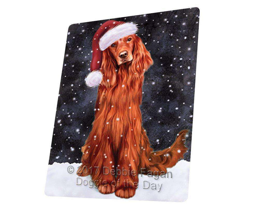 Let it Snow Christmas Holiday Red Irish Setter Dog Wearing Santa Hat Large Refrigerator / Dishwasher Magnet D254