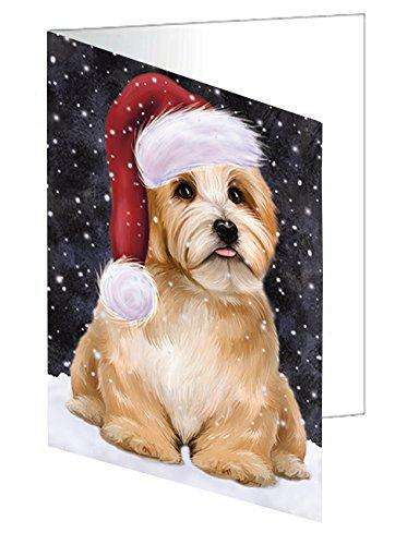 Let it Snow Christmas Holiday Reddish Havanese Dog Wearing Santa Hat Greeting Card D448