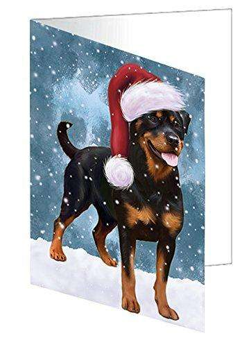 Let it Snow Christmas Holiday Rottweiler Dog Wearing Santa Hat Greeting Card D340