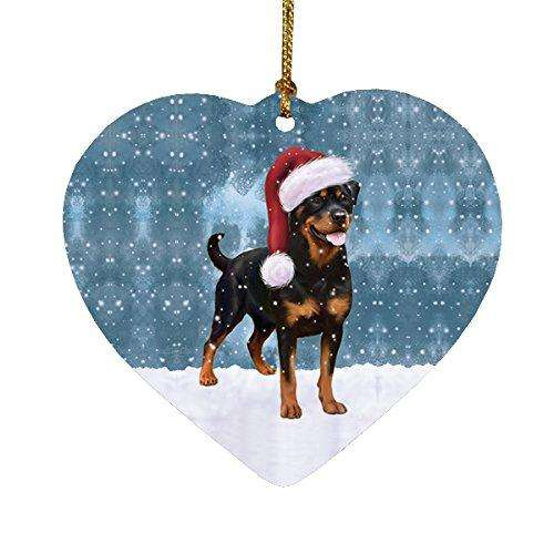 Let it Snow Christmas Holiday Rottweiler Dog Wearing Santa Hat Heart Ornament D234
