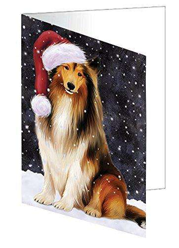 Let it Snow Christmas Holiday Rough Collie Dog Wearing Santa Hat Greeting Card D341