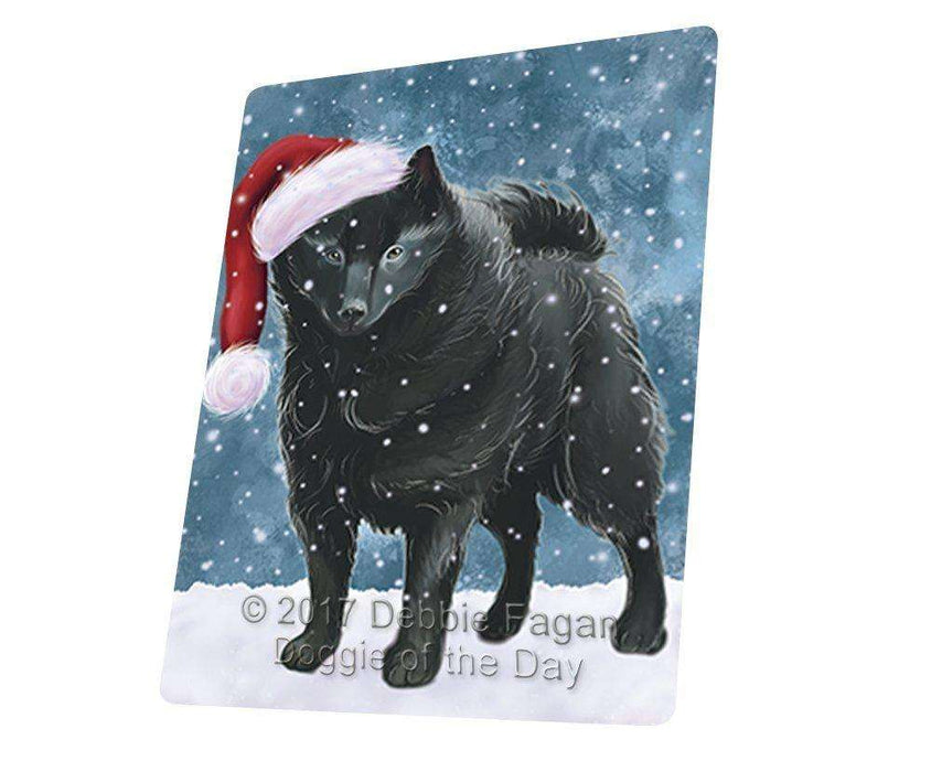 "Let It Snow Christmas Holiday Schipperke Dog Wearing Santa Hat Magnet Mini (3.5"" x 2"")"