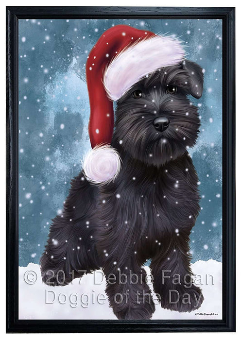 Let it Snow Christmas Holiday Schnauzers Dog Wearing Santa Hat Framed Canvas Print Wall Art