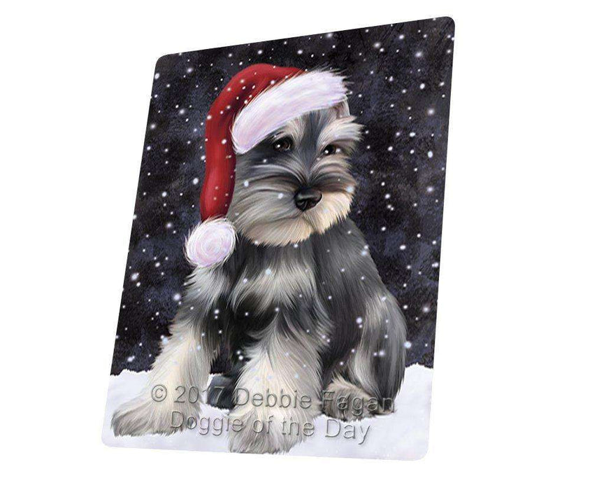 "Let it Snow Christmas Holiday Schnauzers Dog Wearing Santa Hat Large Refrigerator / Dishwasher Magnet D121 (10"" x 20"")"