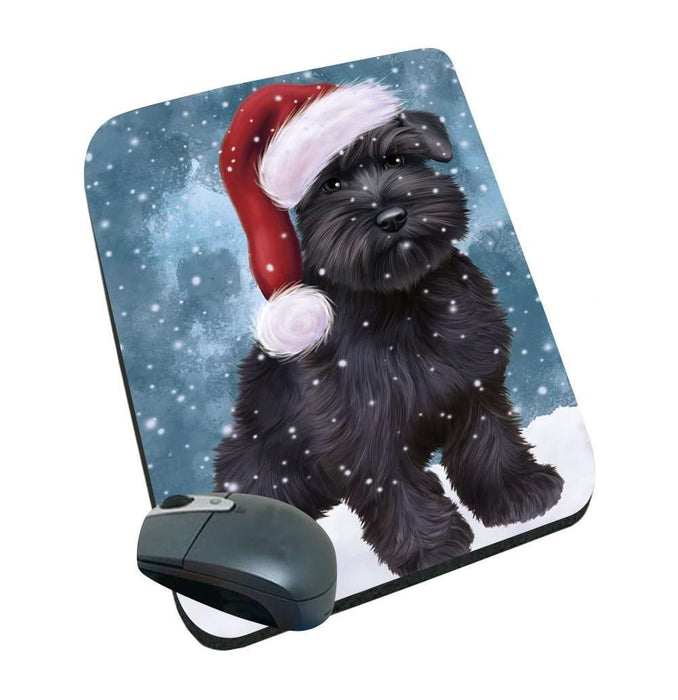 Let it Snow Christmas Holiday Schnauzers Dog Wearing Santa Hat Mousepad