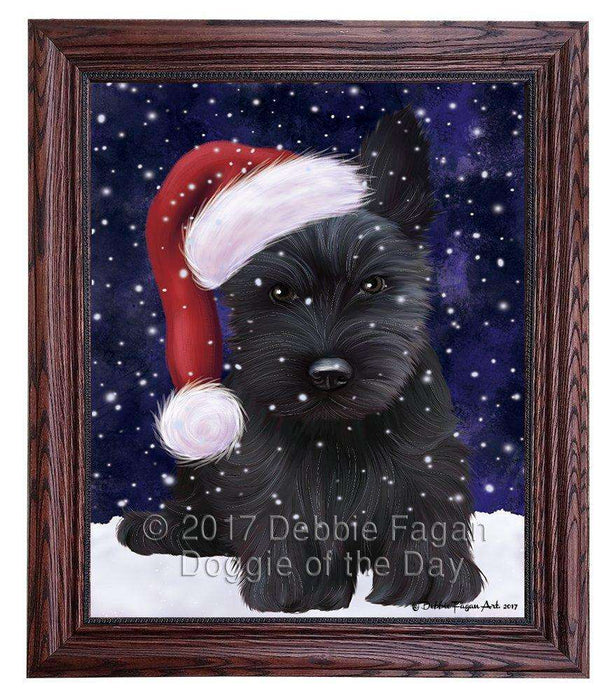 Let it Snow Christmas Holiday Scottish Terrier Dog Wearing Santa Hat Framed Canvas Print Wall Art D033