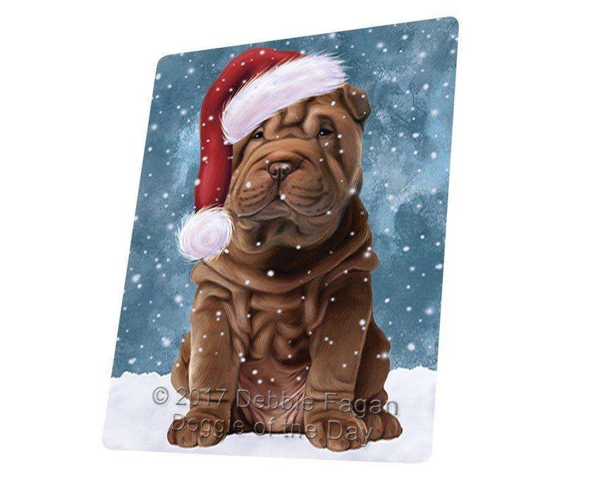 Let it Snow Christmas Holiday Shar Pei Dog Wearing Santa Hat Art Portrait Print Woven Throw Sherpa Plush Fleece Blanket