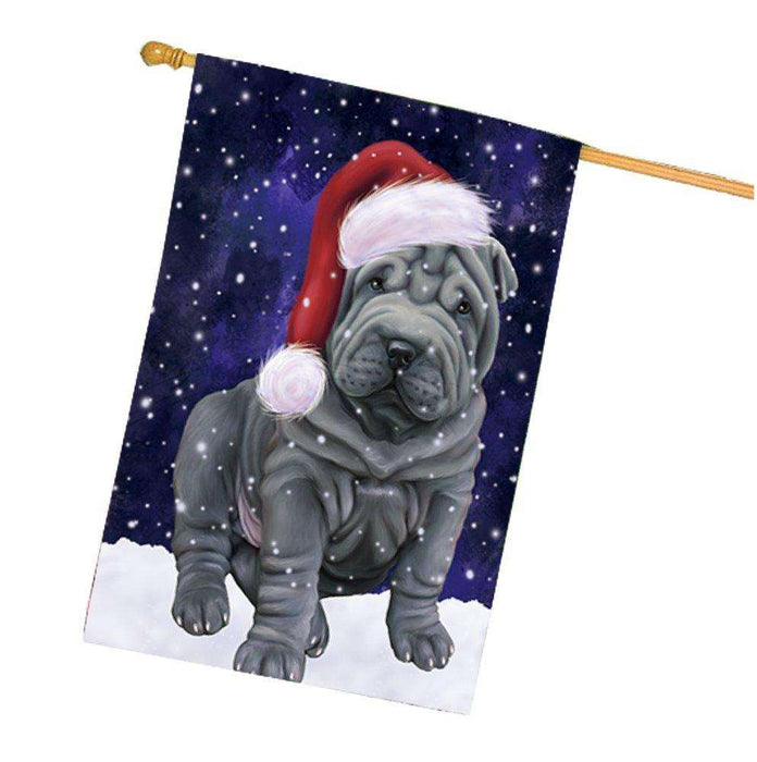 Let it Snow Christmas Holiday Shar Pei Dog Wearing Santa Hat House Flag