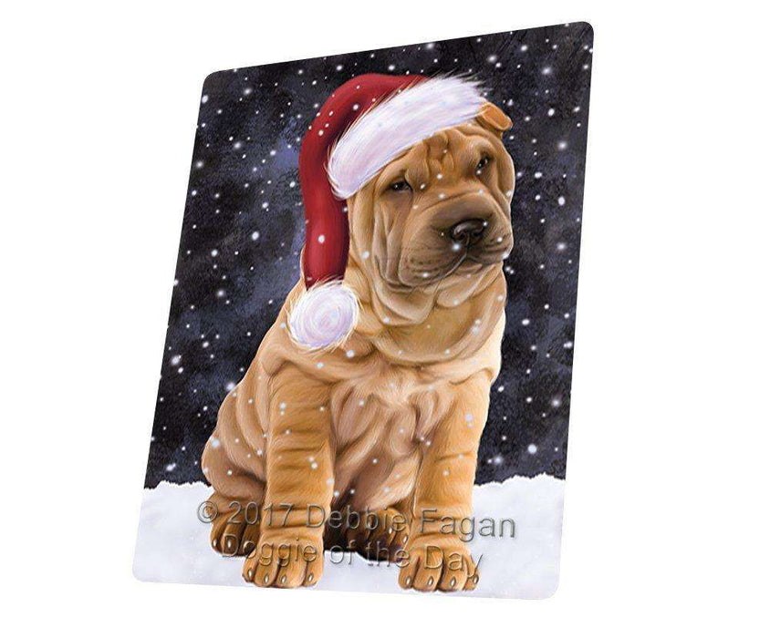 "Let It Snow Christmas Holiday Shar Pei Dog Wearing Santa Hat Magnet Mini (3.5"" x 2"")"