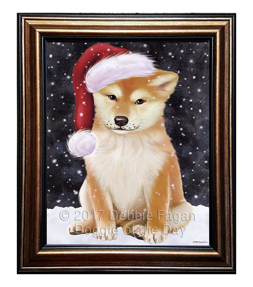 Let it Snow Christmas Holiday Shiba Inu Dog Wearing Santa Hat Framed Canvas Print Wall Art