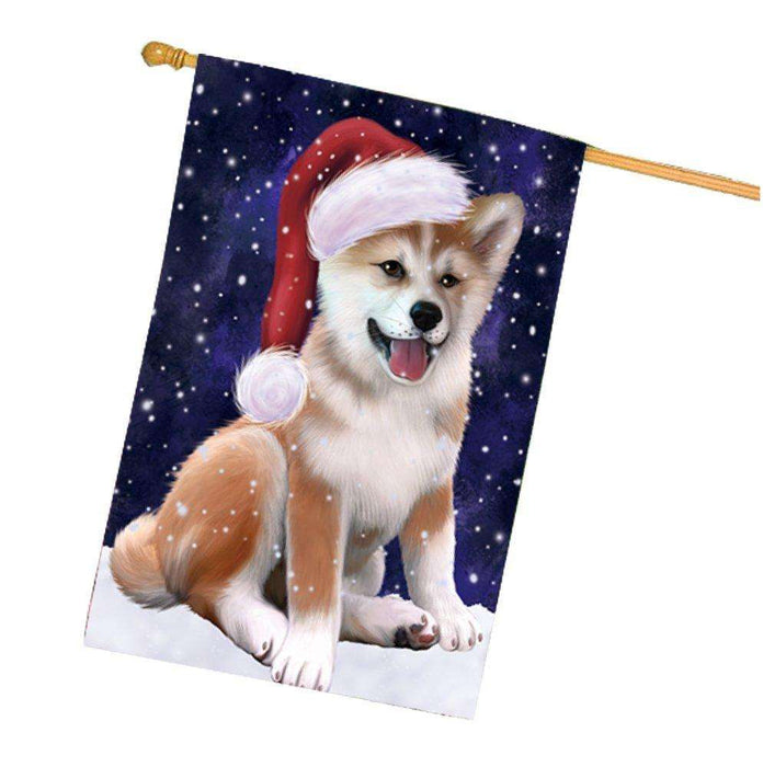 Let it Snow Christmas Holiday Shiba Inu Dog Wearing Santa Hat House Flag