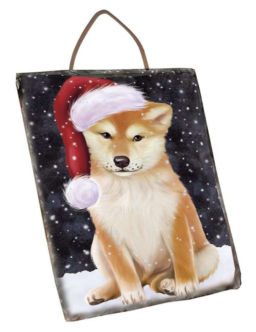 Let it Snow Christmas Holiday Shiba Inu Dog Wearing Santa Hat Wall Décor Hanging Photo Slate D130
