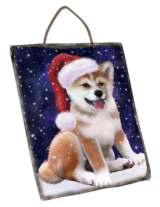 Let it Snow Christmas Holiday Shiba Inu Dog Wearing Santa Hat Wall Décor Hanging Photo Slate D131