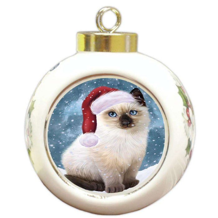 Let it Snow Christmas Holiday Siamese Cat Wearing Santa Hat Round Ball Christmas Ornament RBPOR54325