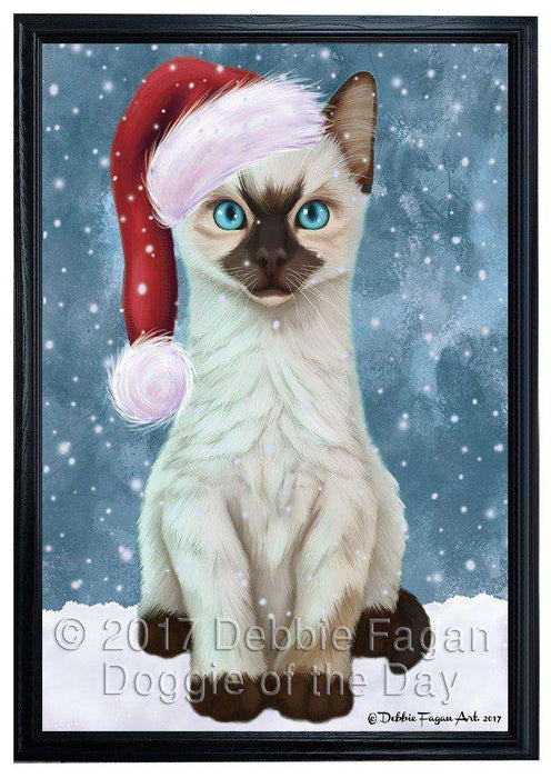 Let it Snow Christmas Holiday Siamese Kitten Cat Wearing Santa Hat Framed Canvas Print Wall Art D031