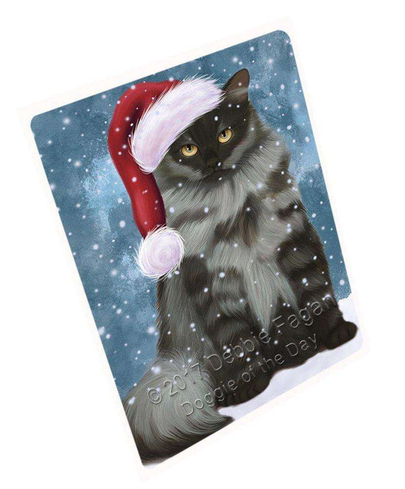 Let it Snow Christmas Holiday Siberian Cat Wearing Santa Hat Art Portrait Print Woven Throw Sherpa Plush Fleece Blanket D055