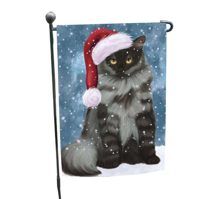 Let it Snow Christmas Holiday Siberian Cat Wearing Santa Hat Garden Flag FLG055