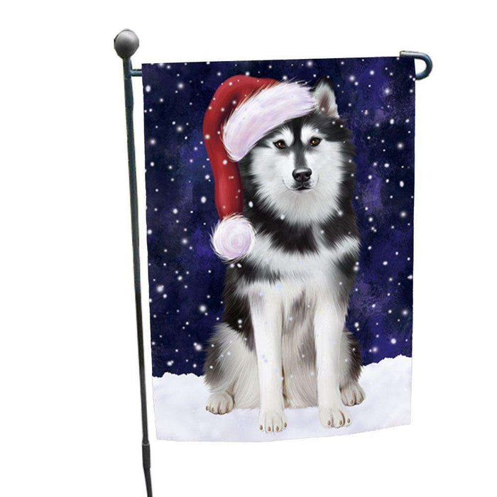 Let it Snow Christmas Holiday Siberian Husky Dog Wearing Santa Hat Garden Flag GF219