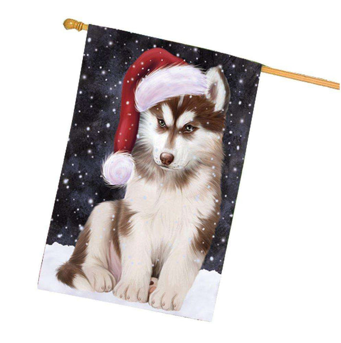 Let it Snow Christmas Holiday Siberian Husky Dog Wearing Santa Hat House Flag