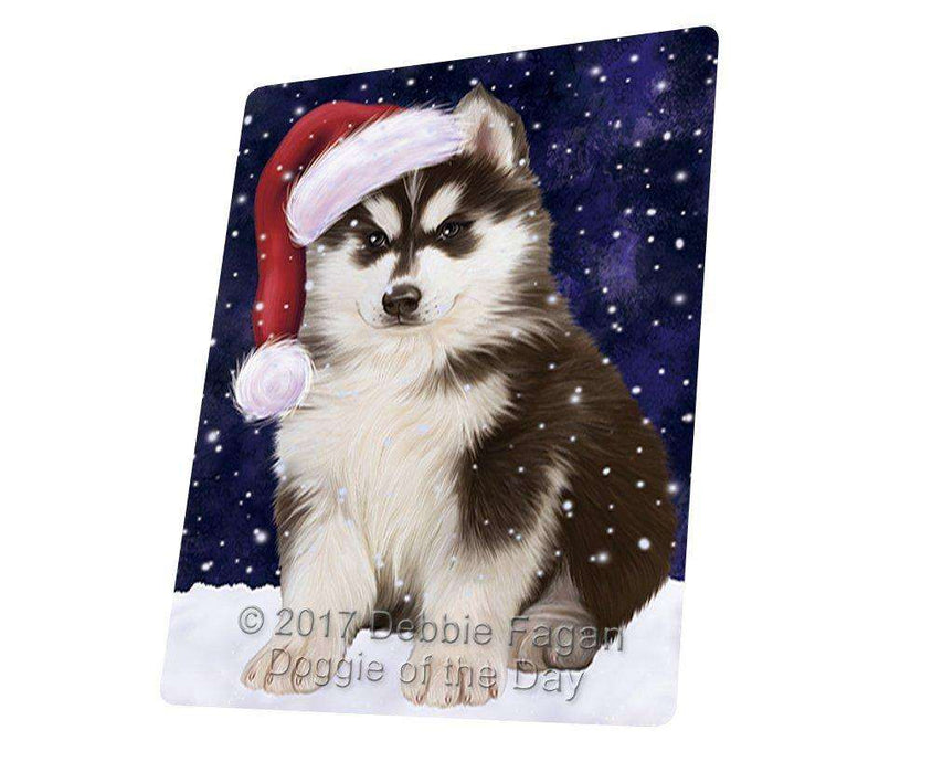 "Let It Snow Christmas Holiday Siberian Husky Dog Wearing Santa Hat Magnet Mini (3.5"" x 2"")"