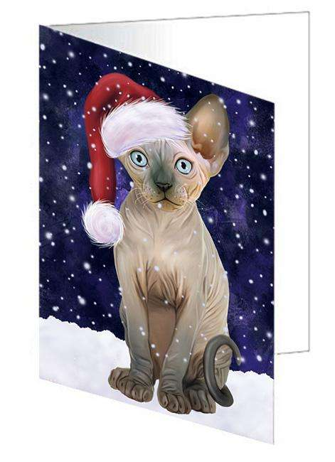 Let it Snow Christmas Holiday Sphynx Cat Wearing Santa Hat Greeting Card GCD67010