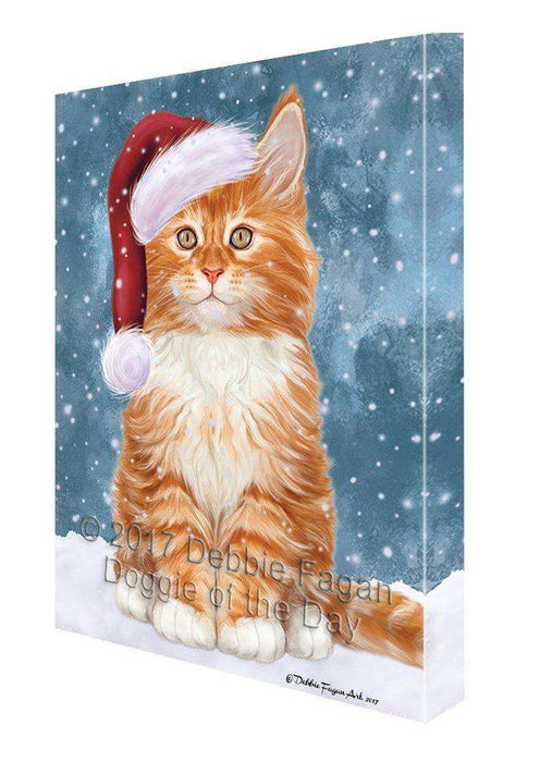 Let it Snow Christmas Holiday Tabby Cat Wearing Santa Hat Canvas Wall Art D262