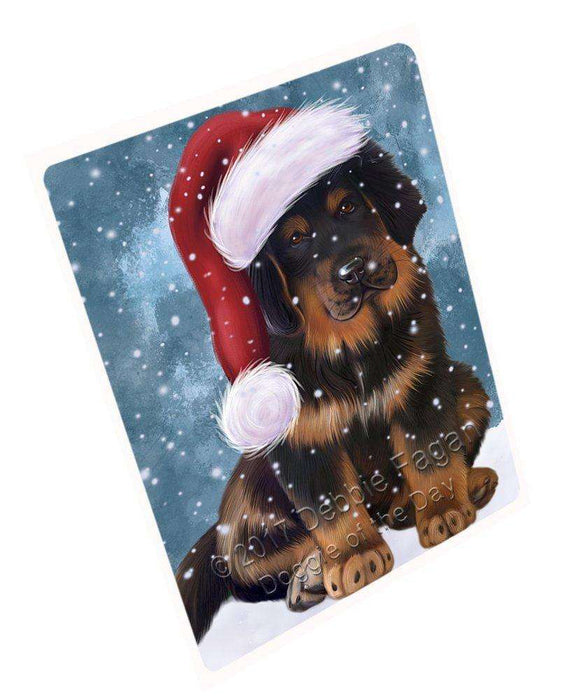 "Let It Snow Christmas Holiday Tibetan Mastiff Puppy Dog Wearing Santa Hat Magnet Mini (3.5"" x 2"") D068"