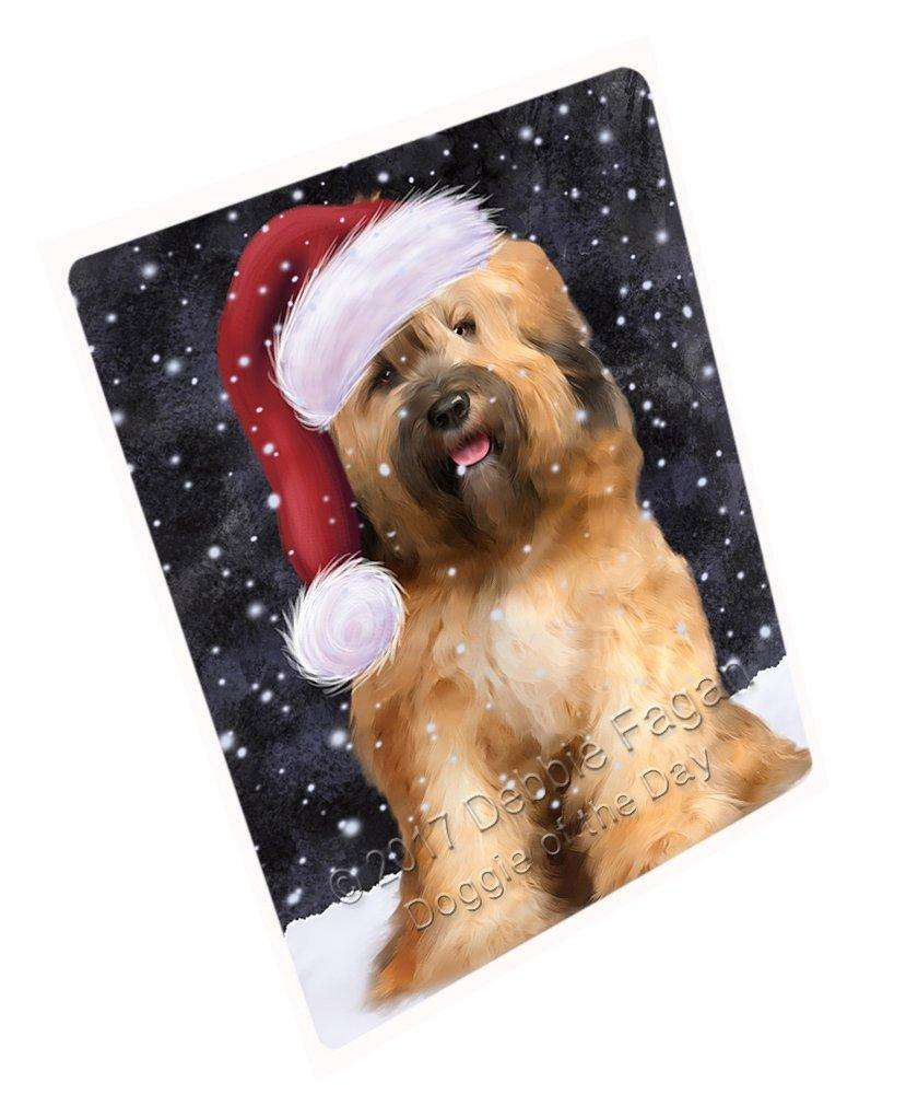 """Let It Snow Christmas Holiday Tibetan Terrier Dog Wearing Santa Hat Magnet Small (5.5"""" x 4.25"""") d070"""
