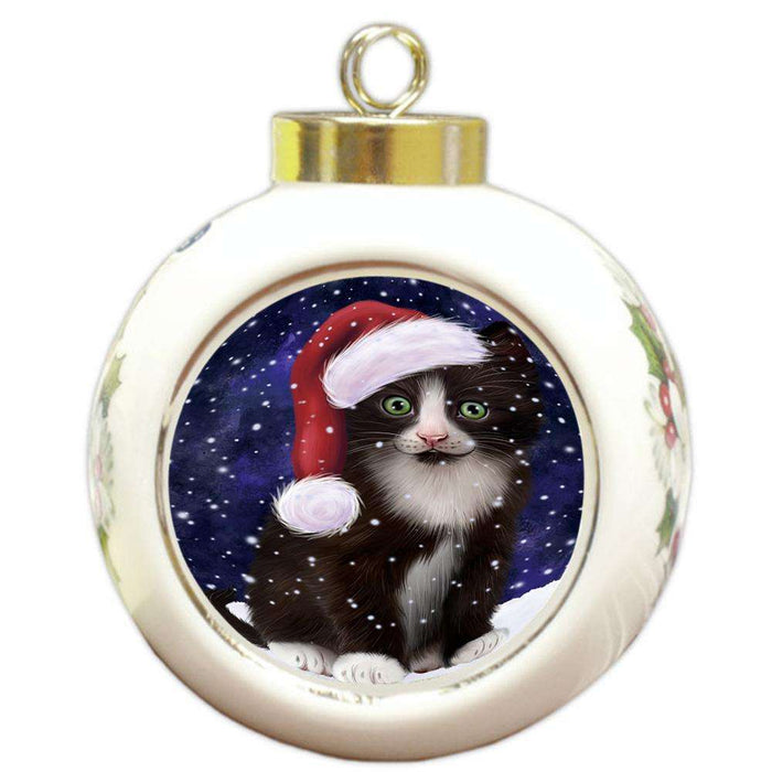 Let it Snow Christmas Holiday Tuxedo Cat Wearing Santa Hat Round Ball Christmas Ornament RBPOR54329