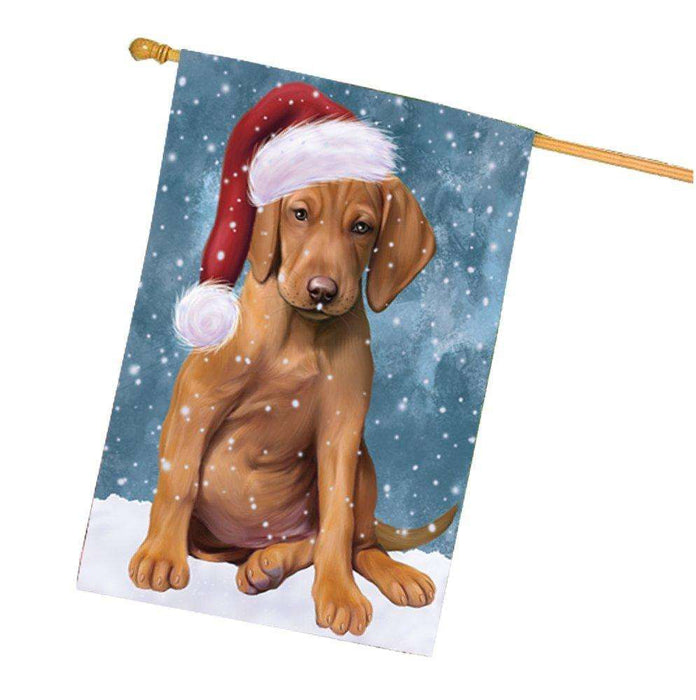 Let it Snow Christmas Holiday Vizsla Dog Wearing Santa Hat House Flag