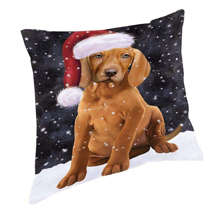 Let it Snow Christmas Holiday Vizsla Dog Wearing Santa Hat Throw Pillow