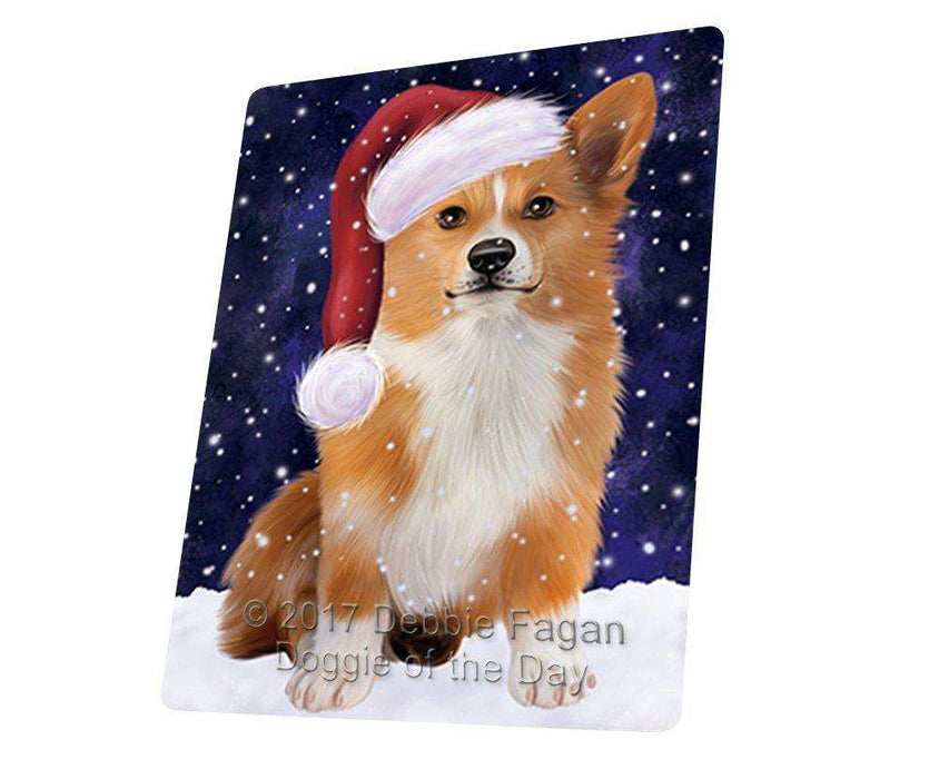 Let it Snow Christmas Holiday Welsh Corgi Dog Wearing Santa Hat Art Portrait Print Woven Throw Sherpa Plush Fleece Blanket D036