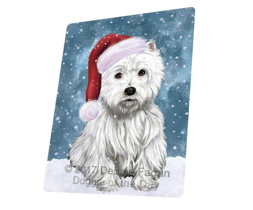 Let it Snow Christmas Holiday West Highland Terriers Dog Wearing Santa Hat Art Portrait Print Woven Throw Sherpa Plush Fleece Blanket