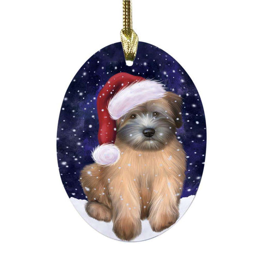 Let it Snow Christmas Holiday Wheaten Terrier Dog Oval Glass Christmas Ornament OGOR48974