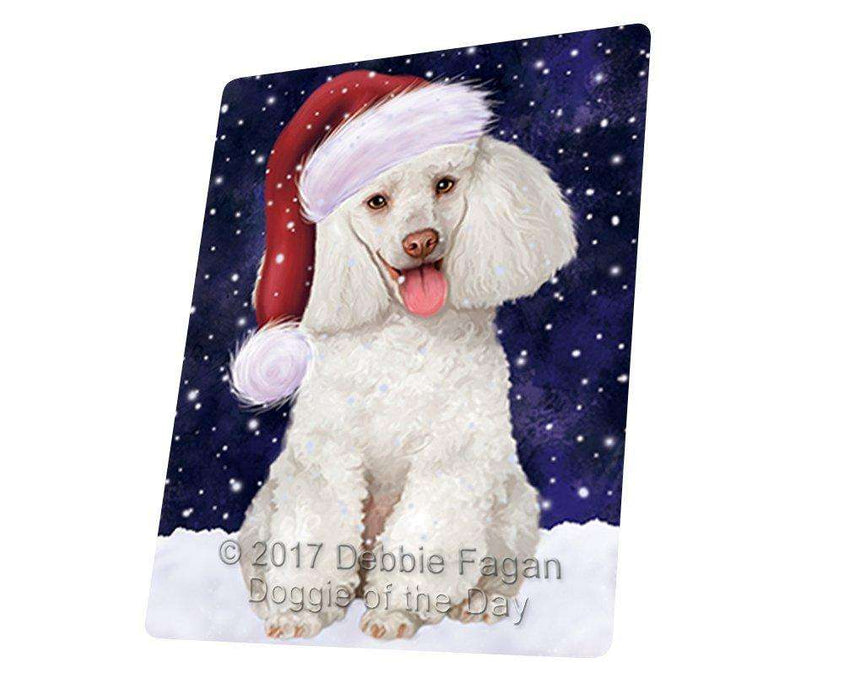 "Let It Snow Christmas Holiday White Poodle Dog Wearing Santa Hat Magnet Mini (3.5"" x 2"")"