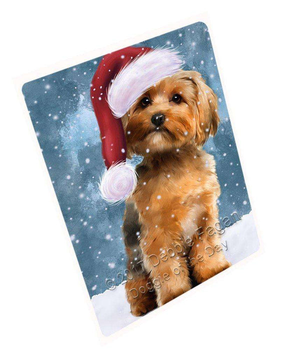 Let it Snow Christmas Holiday Yorkshire Terrier Dog Wearing Santa Hat Art Portrait Print Woven Throw Sherpa Plush Fleece Blanket D087