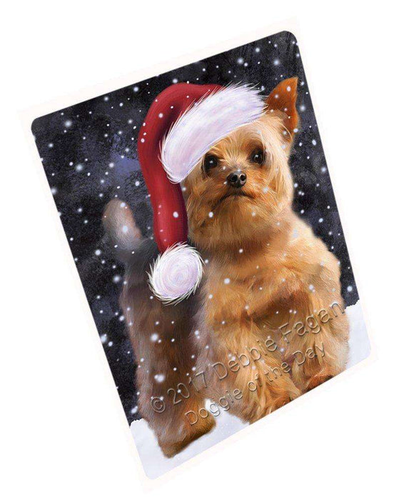 Let it Snow Christmas Holiday Yorkshire Terrier Dog Wearing Santa Hat Art Portrait Print Woven Throw Sherpa Plush Fleece Blanket D088