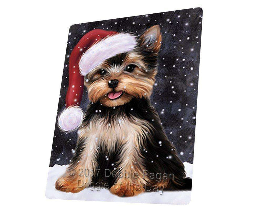 "Let It Snow Christmas Holiday Yorkshire Terrier Dog Wearing Santa Hat Magnet Mini (3.5"" x 2"")"