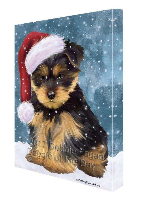 Let it Snow Christmas Holiday Yorkshire Terriers Dog Wearing Santa Hat Canvas Wall Art